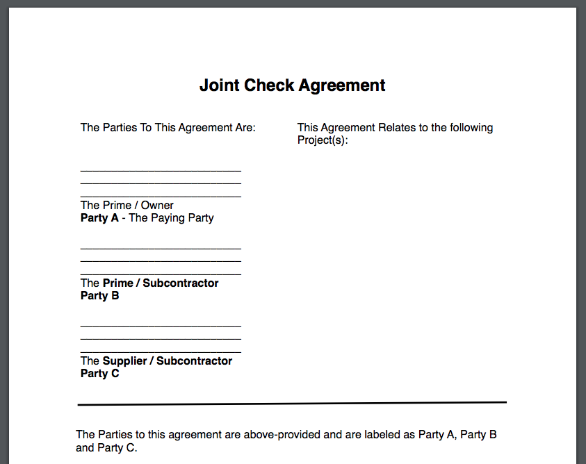 Joint Check Agreements Free Form Template Download Zlien